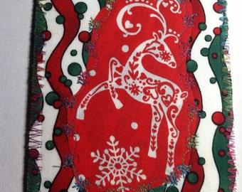 Oh Deer Christmas fabric postcard