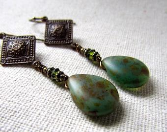 Earthy Green Earrings, Sage Green, Long Drop Earrings, Vintage Style, Czech Glass, Matte Sage Picasso, Age Brass Earrings, Wire Wrapped