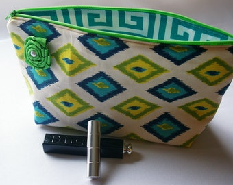 Large Flat Bottom Cosmetic Bag in Blue and Green Diamond Print...The Adelaide Collection