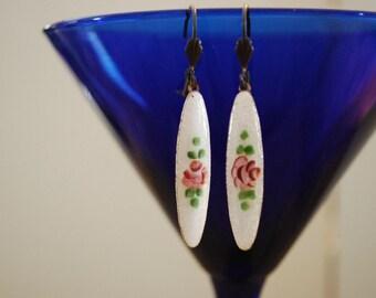 Mori girl shabby chic cottage chic rosebud painted enamel earrings
