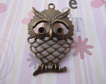 20pcs antique bronze plated owl findings 55x36mm