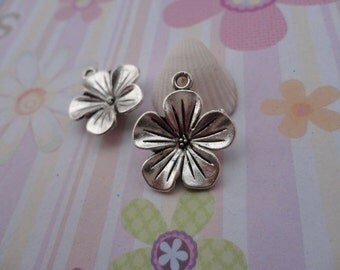 10pcs antique silver flower findings 22mmx19mm