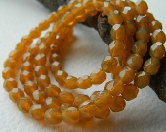 6mm Toffee opal Czech Glass Beads, Czech Fire Polished beads, Opal Toffee 6mm (40pcs)