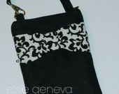 Black Linen and Black White Damask Bow Phone Case with Wristlet or Optional Shoulder Strap iPhone 4 5 6 Plus Note