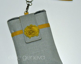 Made to Order Japanese Linen Grey & Mustard Yellow Phone Case with Rosette with Wristlet or Belt Clip Option iPhone 5 6 Plus 6S Note Camera