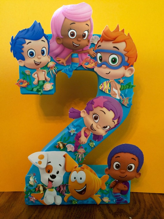 Bubble Guppiles Birthday Number Centerpiece Is 8 Inches Tall