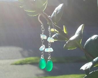 Green Onyx and Opalite Earrings