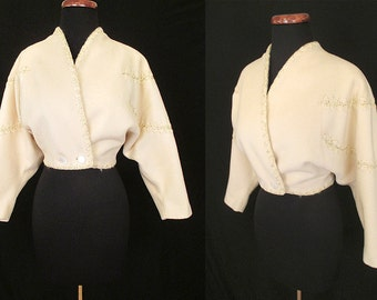 Adorable 1950's Cream Wool Cropped Jacket with Gold Lurex Overstitching and Dolman Sleeves Rockabilly VLV Pinup Girl