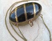 Vintage Horn Locket Purse Necklace Inlaid Brass Purse