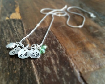 Hand stamped Baby feet Necklace,  Initial Necklace, Mom necklace, Birthstone necklace, Hand stamped necklace, Mothers day