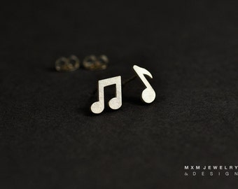 Tiny Sterling Silver Music Note Stud Earrings