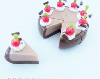 Miniature Polymer Clay Food Supply Chocolate Bakery & Cake for Dollhouse, set of 8 pieces