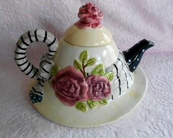 Vintage HAT BONNET TEAPOT Victorian Ceramic Faux Millinery Bow Ribbon French Paris Chic Pink Rose Flower Floral Stripe Figural Display Mint