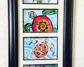 Framed Tropical Sea Turtle set of four art prints Hawaiian Turtle Painting ~ Great for baby nursery, bathroom, bedroom art Christie Marie