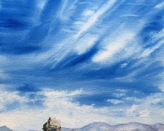 "Mono Lake Landscape Original Watercolor Art ""Mono Scape"" Original Fine Art Sierra Nevada Blue Sky and clouds OOAK"