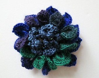 FREE US SHIPPING - Ink Purple Green Blue Eggplant Color Crochet Statement Flower Brooch Hat Hair Shawl Scarf Pin