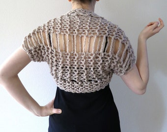 Light Taupe Beige Natural Oatmeal Wheat Color Chunky Wool Acrylic Yarn Knitted Summer Shoulder Shrug Bolero Sleeves