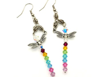 Spring Colors Swarovski Crystal Dragonfly Earrings with Sweetpea Chainmaille Weave