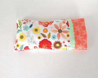 Organic Eye Pillow with Removable Case - Aromatherapy Eye Pillow -Choice of Blend -Spring Flowers