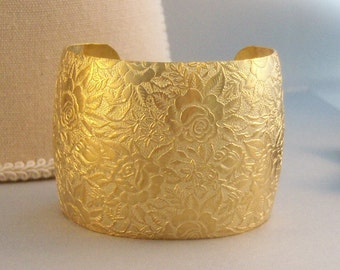 Golden Flower,Bracelet,Cuff,Gold Cuff,Gold Bracelet,Gold Flower,Girl,Cuff Bracelet,Bracelet,Brass,Antique Bracelet,Gold valleygirldesigns.