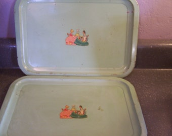 Very Vintage Metal Serving Trays, (2) Ladies, Tea Party, Shabby, 1920s 30s, Green