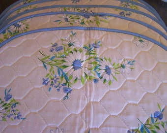 Vintage Cottage Chic Placemats, (6), Blue Daisies, Floral, Country Blue, Quilted, Unused