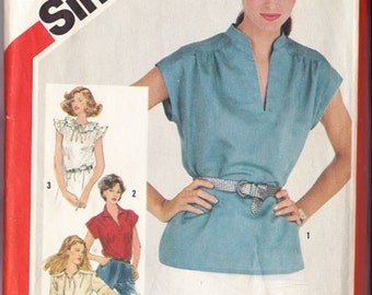 Misses Blouse Pattern  Simplicity No 5456 Size 16 ~  4 Pullover Blouses ~ Stand Up Or Pointed Collar - Ruffle Neck ~ Cut But Complete
