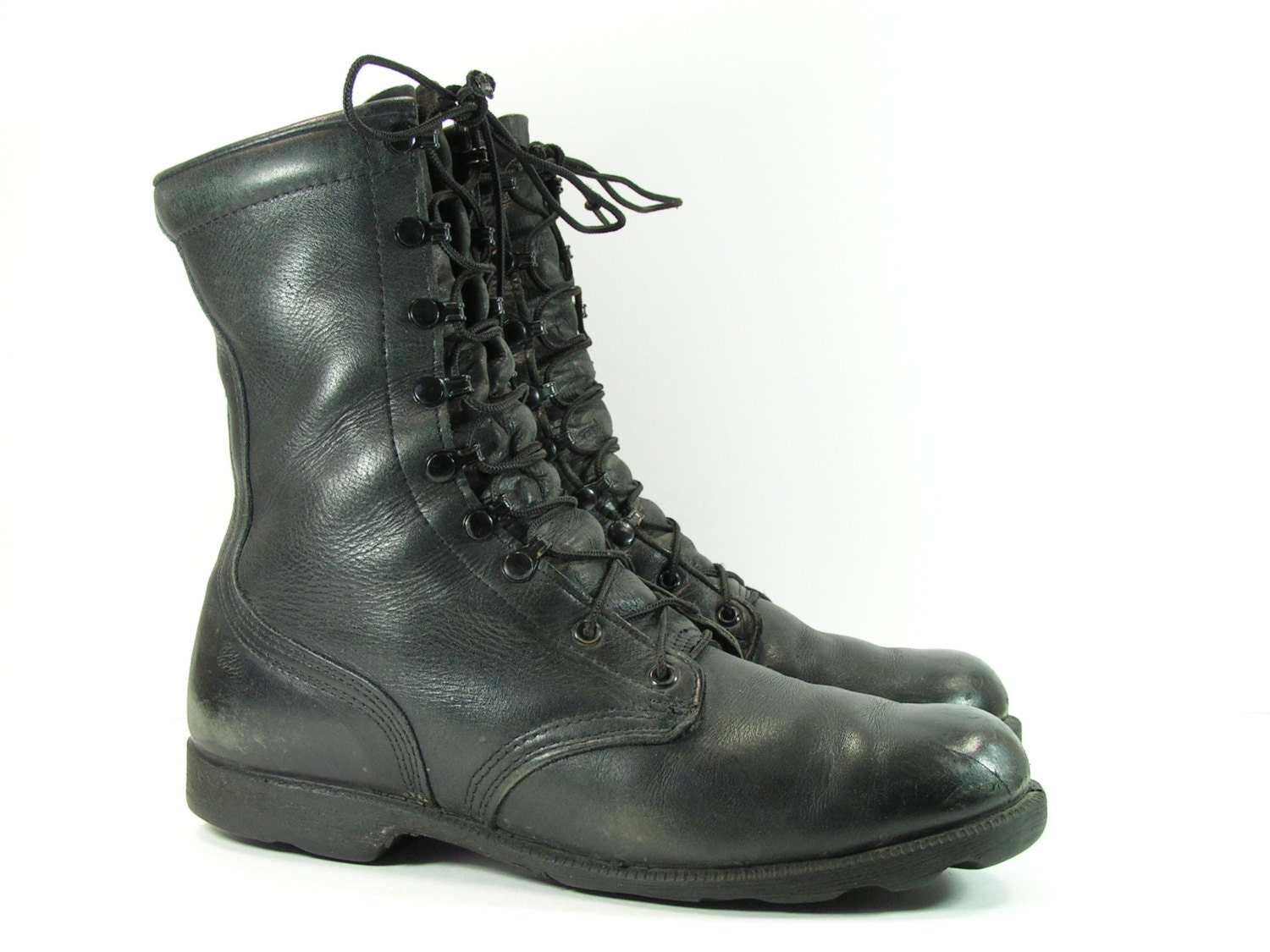 vintage combat boots mens 10 5 d black leather jungle