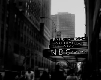 New York Print, Rainbow Room, NBC Studios, Travel, Black White New York City Print, Rockefeller Center, 30 Rock