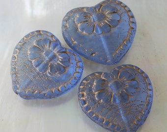Czech Glass Beads - Jewelry  Making Supplies - Victorian Glass Heart Bead - Valentines Day Heart - 17mm (4 beads) Blue