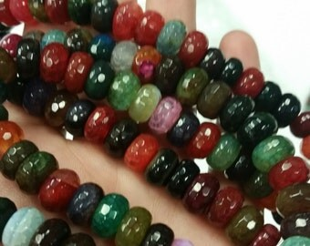6x11mm Multi Rainbow Agate Faceted Rondelle