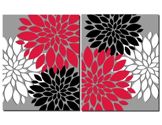 Red gray black white wall art prints or canvas bathroom decor for Red and gray bathroom sets