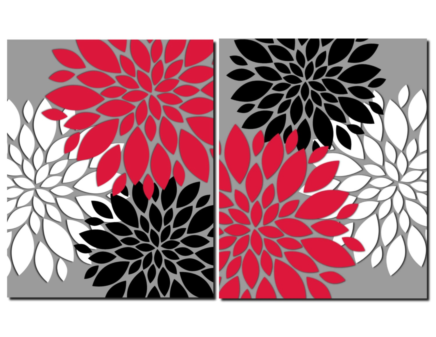 Red gray black white wall art prints or canvas bathroom decor for Red wall art
