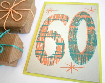 Magic Numbers 60th Birthday Hand Printed Card - Screen Printed Card - 60th Birthday Card