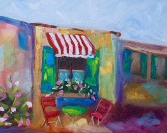 11x 14 Original Impressionist Oil French Cafe Painting by Rebecca Croft