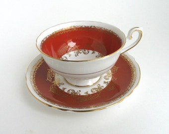 Shelley Teacup and Saucer Set Rust/Brick Red and White Gold Filigree //Vintage China Cup and Saucer//Serveware