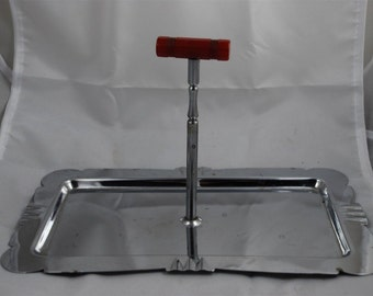 Vintage Art Deco Silver Chrome Metal Serving Tray with Red Bakelite Handle 1920's - 1930's Original