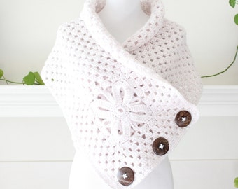 Crocheted Linen Color Scarf, Shawl, Poncho
