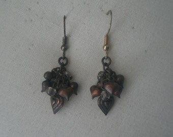 Vintage Copper Tone Cluster of Dangling Hearts Earrings