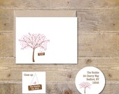 Wedding Thank You Cards,  Thank You Cards, Cherry Blossom, Cherry Tree, Bridal Shower,  Outdoor Wedding, Affordable Weddings, Tree, Birds