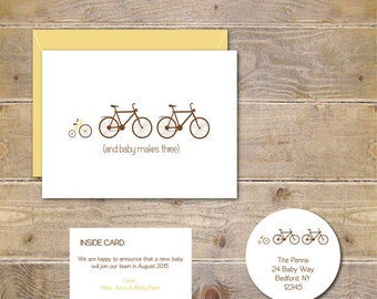 Birth Announcement Cards, Bicycle,  Baby Announcements, New Baby, Tricycle, Expecting Baby Cards, Pregnancy Announcement  - Set of 100