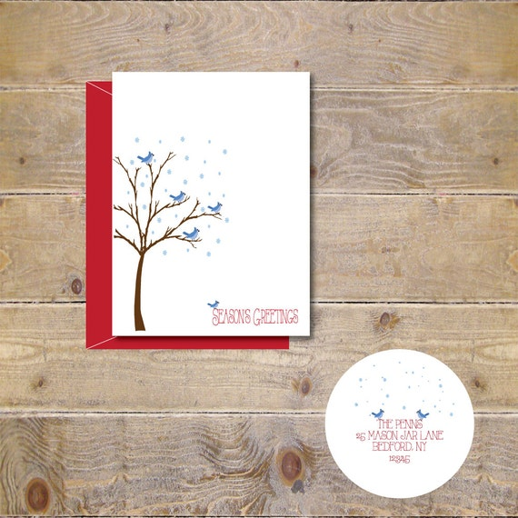 Blue Jays, Christmas Card, Holiday Cards, Snow, Trees, Christmas Card Set, Blue Jay Christmas Cards, Handmade, Holiday Greetings