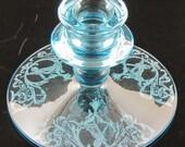 Vintage Central Glass Morgan Etch Rare Blue Single Candlestick