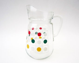 1960s French vintage glass PITCHER⎮polka DOTS pattern⎮colorful multicolor⎮mid century modern