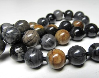 Jasper Beads 9mm Smooth Polished Natural Picasso Jasper Earth Tones Rounds - 10 Pieces