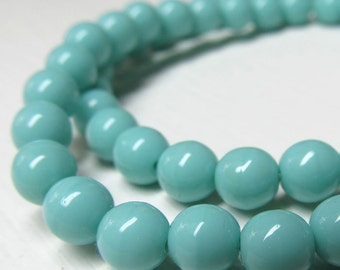Czech Glass Beads 6mm Opaque Shiny Turquoise Smooth Rounds - 30 Pieces