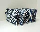 READY TO SHIP - Navy and Gray Bridesmaid Gift Set of 5 Makeup bags Cosmetic Bags