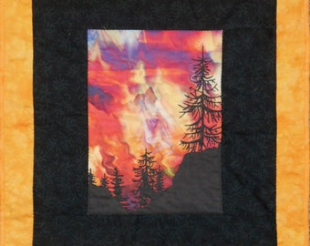 Quilted Wall Hanging Fire on the Mountain Wildfire in Black, Red, Orange and Yellow