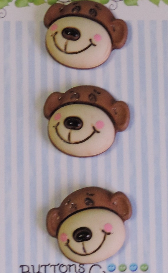 "Monkey Buttons, ""Max The Monkey"" Carded Novelty Buttons by Buttons Galore, Shank Back, Set of 3"
