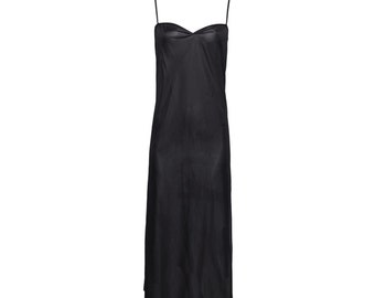 Black long chemise, Black maxi slip dress, classic black undergarment, maxi camisole